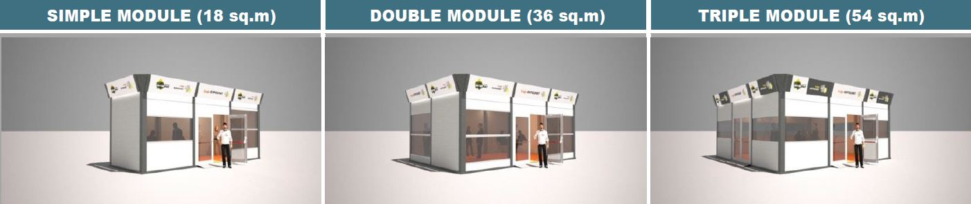 Outdoor booth bungalow INTERMAT